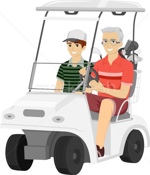 515x600 Senior Man Grandson Golf Cart Vector Illustration Lenm ( 7247574