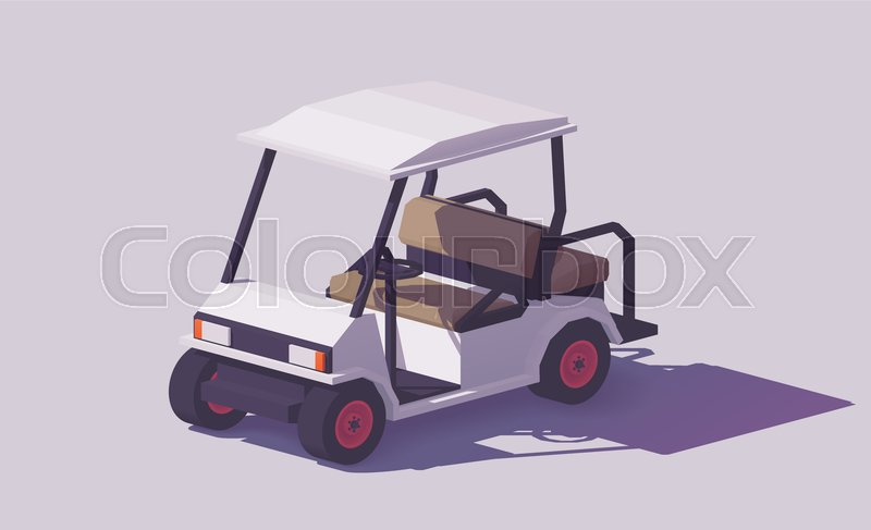 800x487 Vector Low Poly Classic White Golf Cart Stock Vector Colourbox