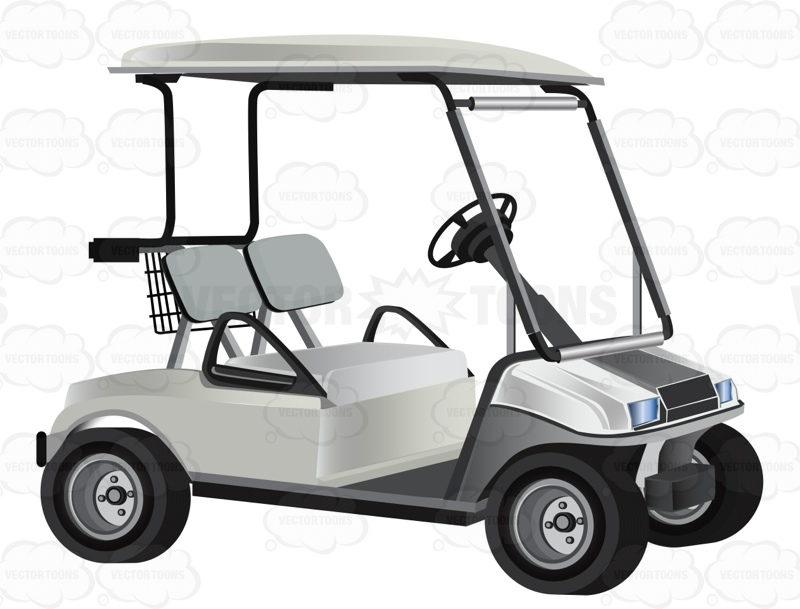 800x609 White Golf Cart With Two Seats Clipart By Vector Toons