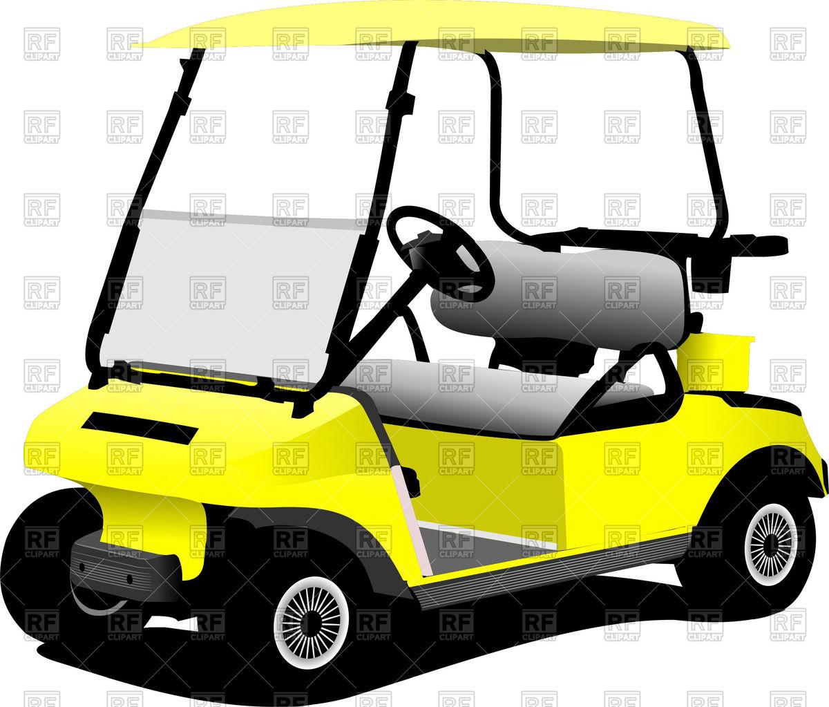 1200x1023 Yellow Electrical Golf Car Vector Image Vector Artwork Of