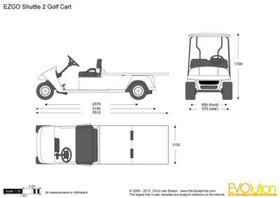 400x283 Ezgo Shuttle 2 Golf Cart Vector Drawing