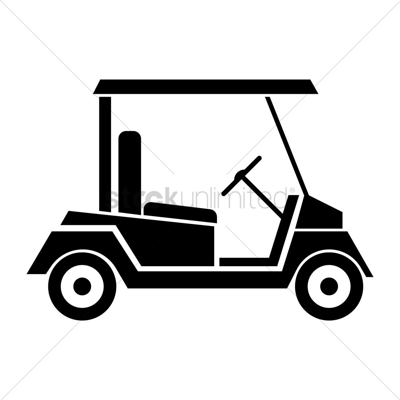 1300x1300 Free Golf Cart Vector Image