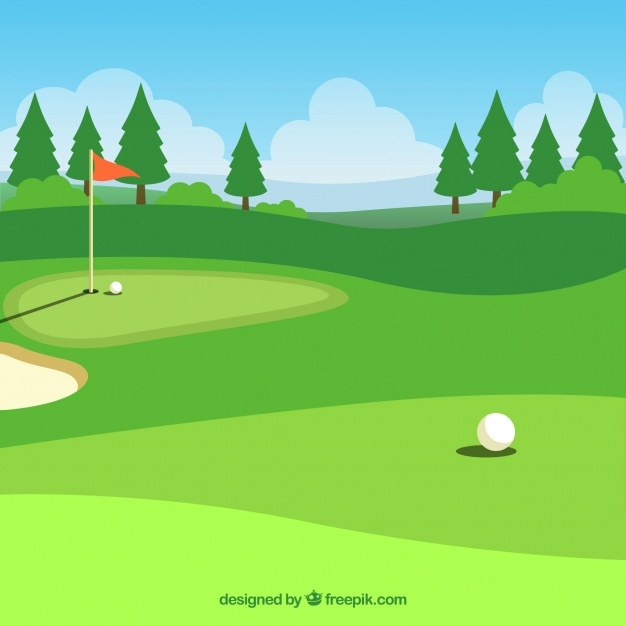 626x626 Golf Course Background In Flat Style Vector Free Download