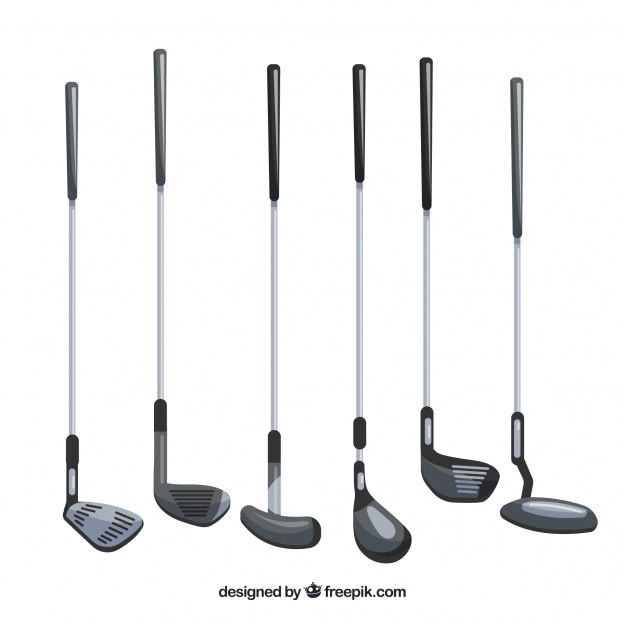 626x626 Collection Of Different Types Of Golf Clubs Vector Free Download