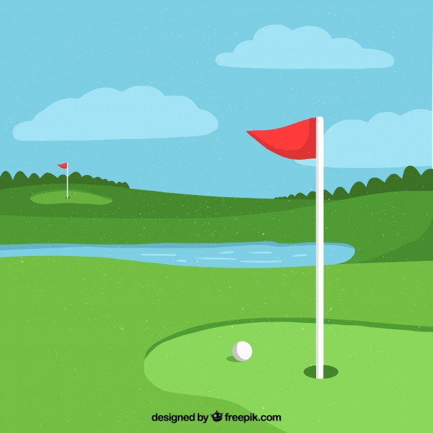 626x626 Golf Background With Pond Vector Free Download