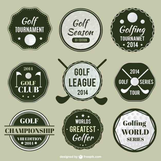 626x626 Golf League Labels Set Vector Free Download