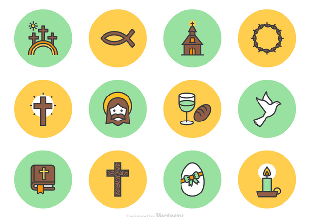 632x443 Good Friday And Easter Vector Line Icons Free Vector Download