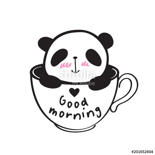 500x500 Good Morning. Little Cute Panda In A Cup With Heart. Vector