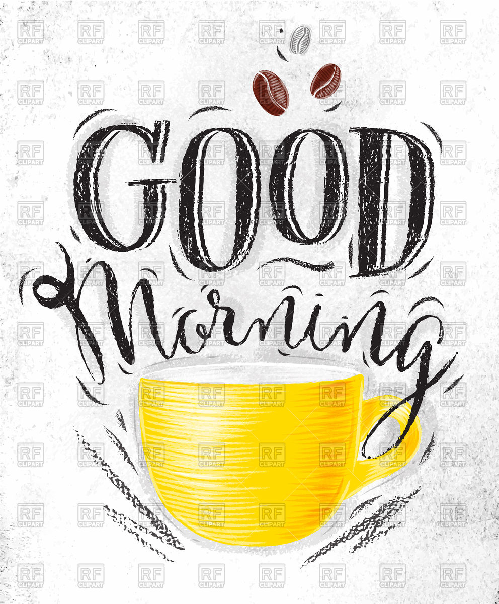 992x1200 Poster With Cup Of Coffee Lettering Good Morning Vector Image