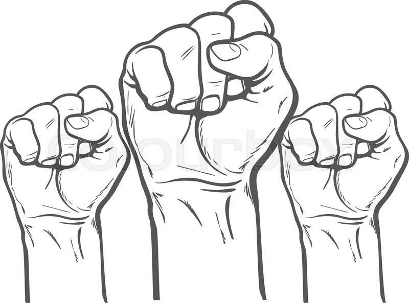 800x593 Raised Fist. Strong Fist On A White Background. Mans Hand. Male