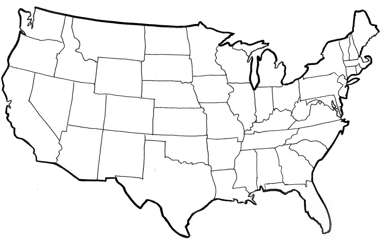 1298x805 Black Line Map Of Usa Usa Map Vector Outline Google Maps Us Vector