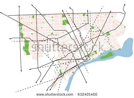 450x329 Vector Map Detroit Usa Google Maps