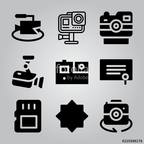 500x500 Simple 9 Icon Set Of Camera Related Night Mode, Degree, Memory