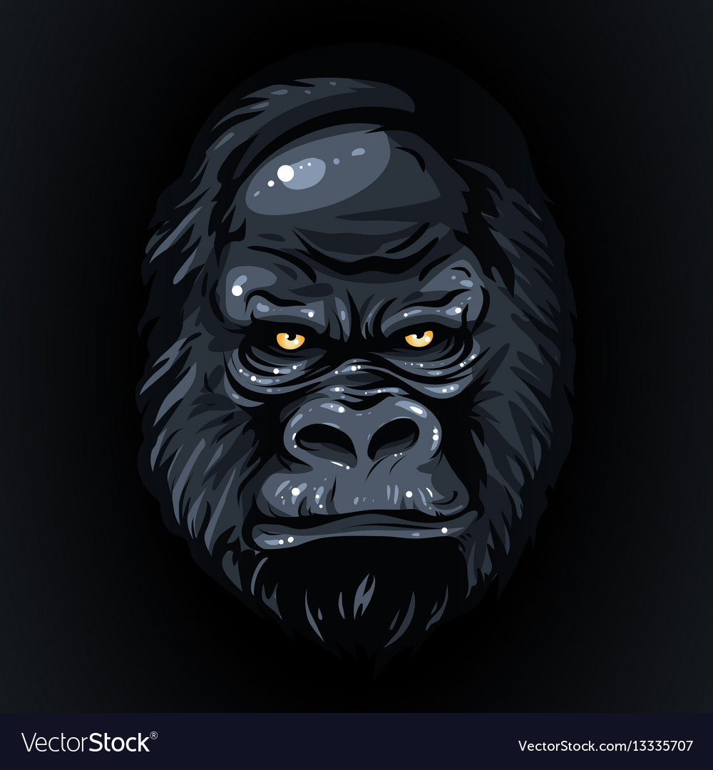 1000x1080 Gorilla Face Drawing Drawing Realistic Black Face Gorilla Yellow