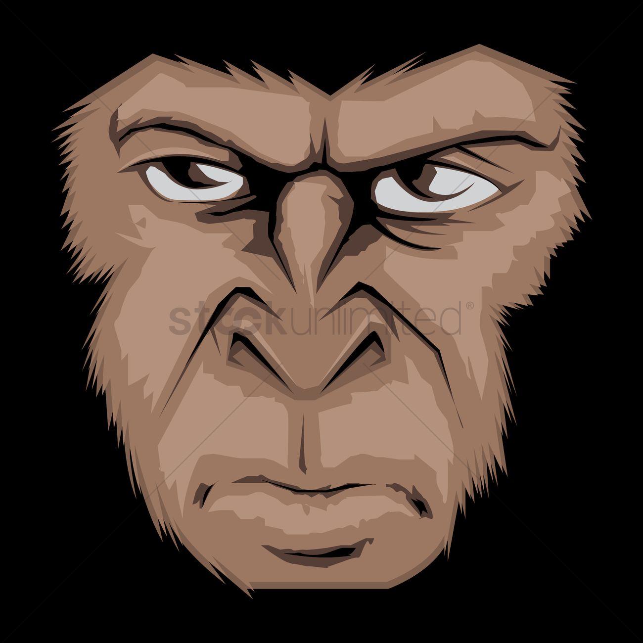 1300x1300 Gorilla Face Vector Image