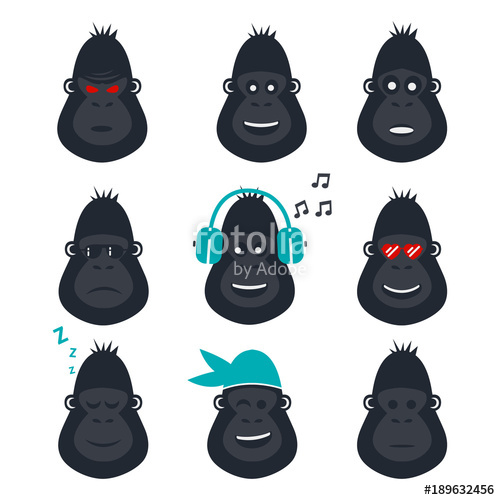 500x500 Set Of Gorilla Face Icons. Monkey Emotions Icons. Vector