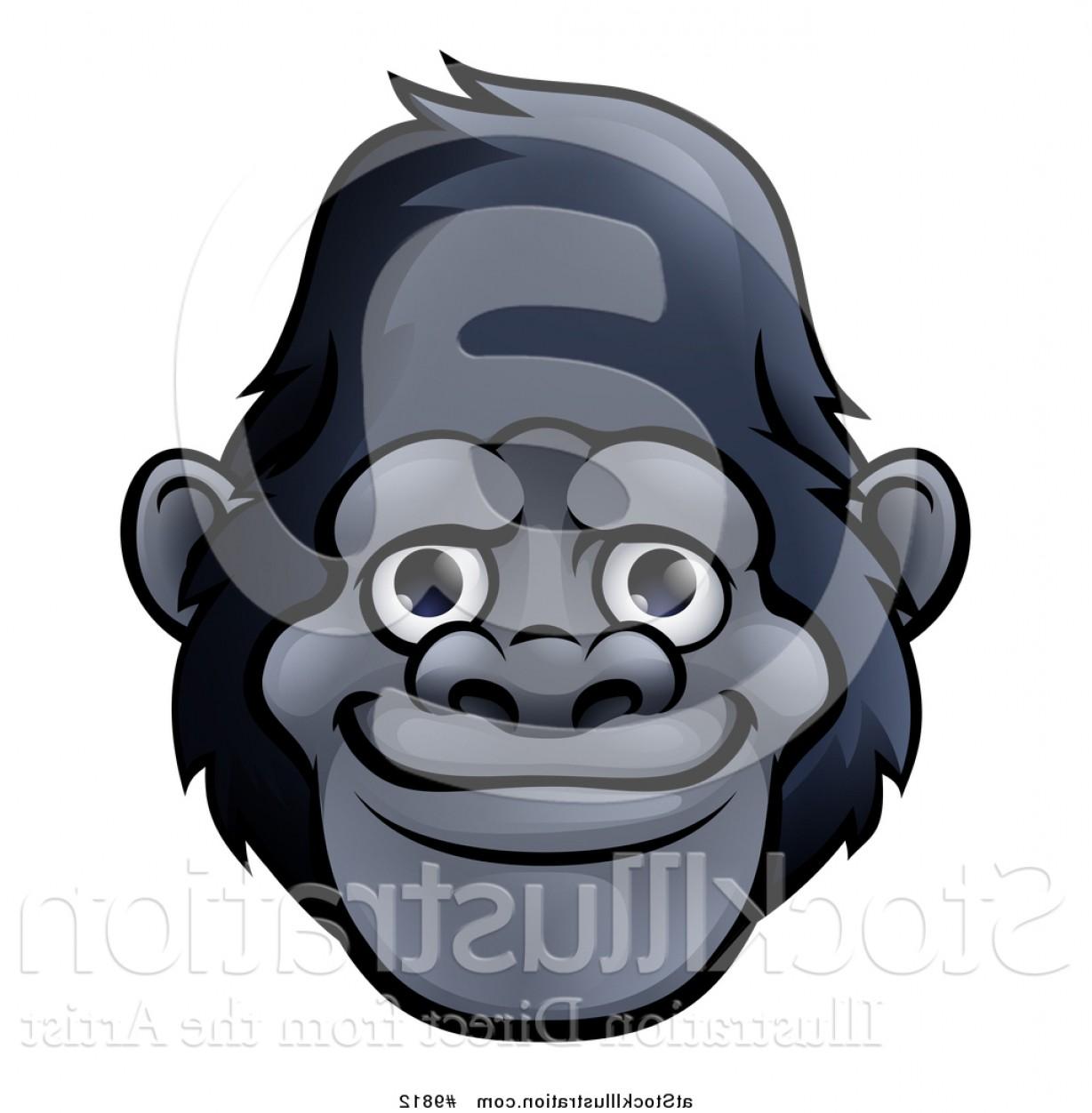 1228x1252 Vector Illustration Of A Happy Gorilla Face By Atstockillustration
