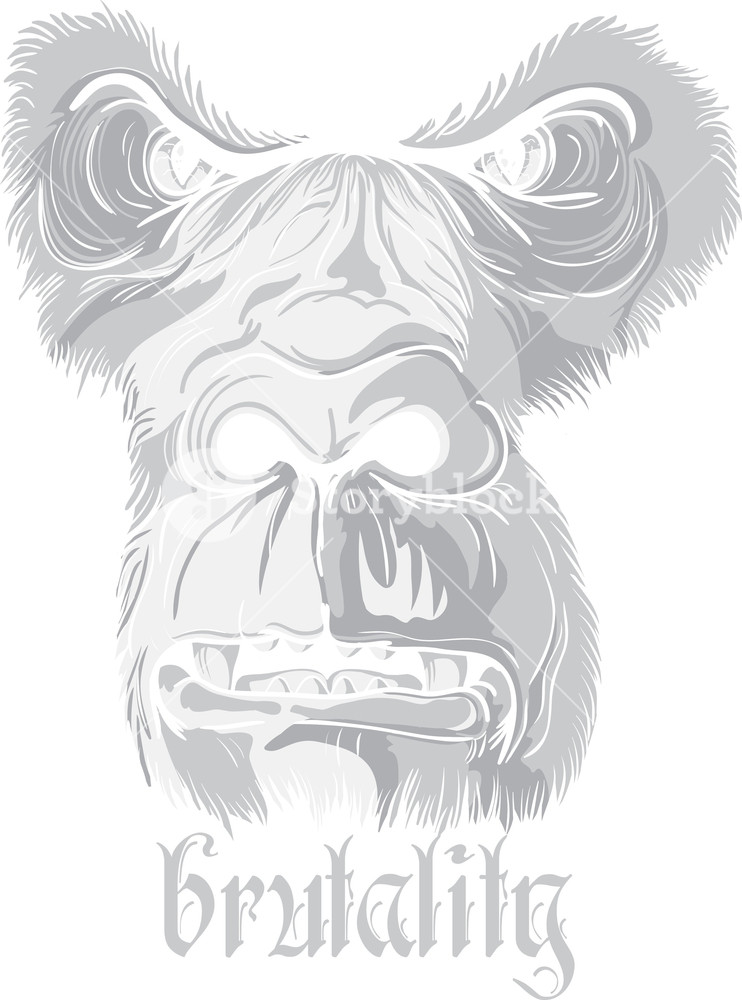 742x1000 Vector T Shirt Design With Gorilla Face Royalty Free Stock Image