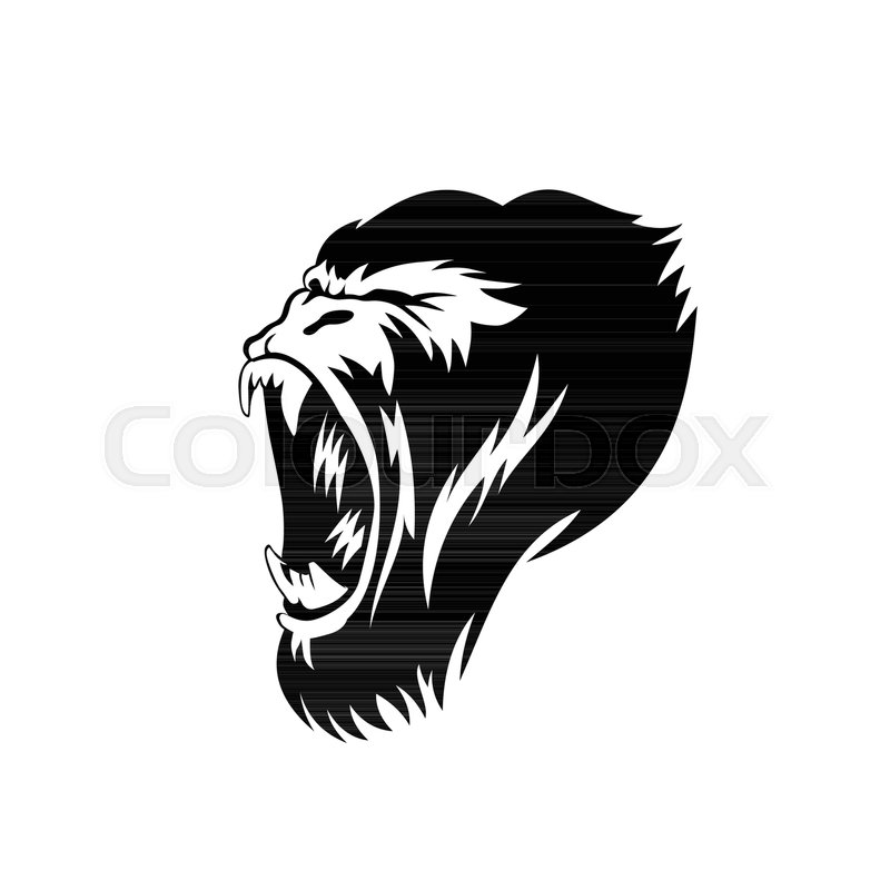 800x800 Black Color Gorilla Face In White Background Vector Illustration