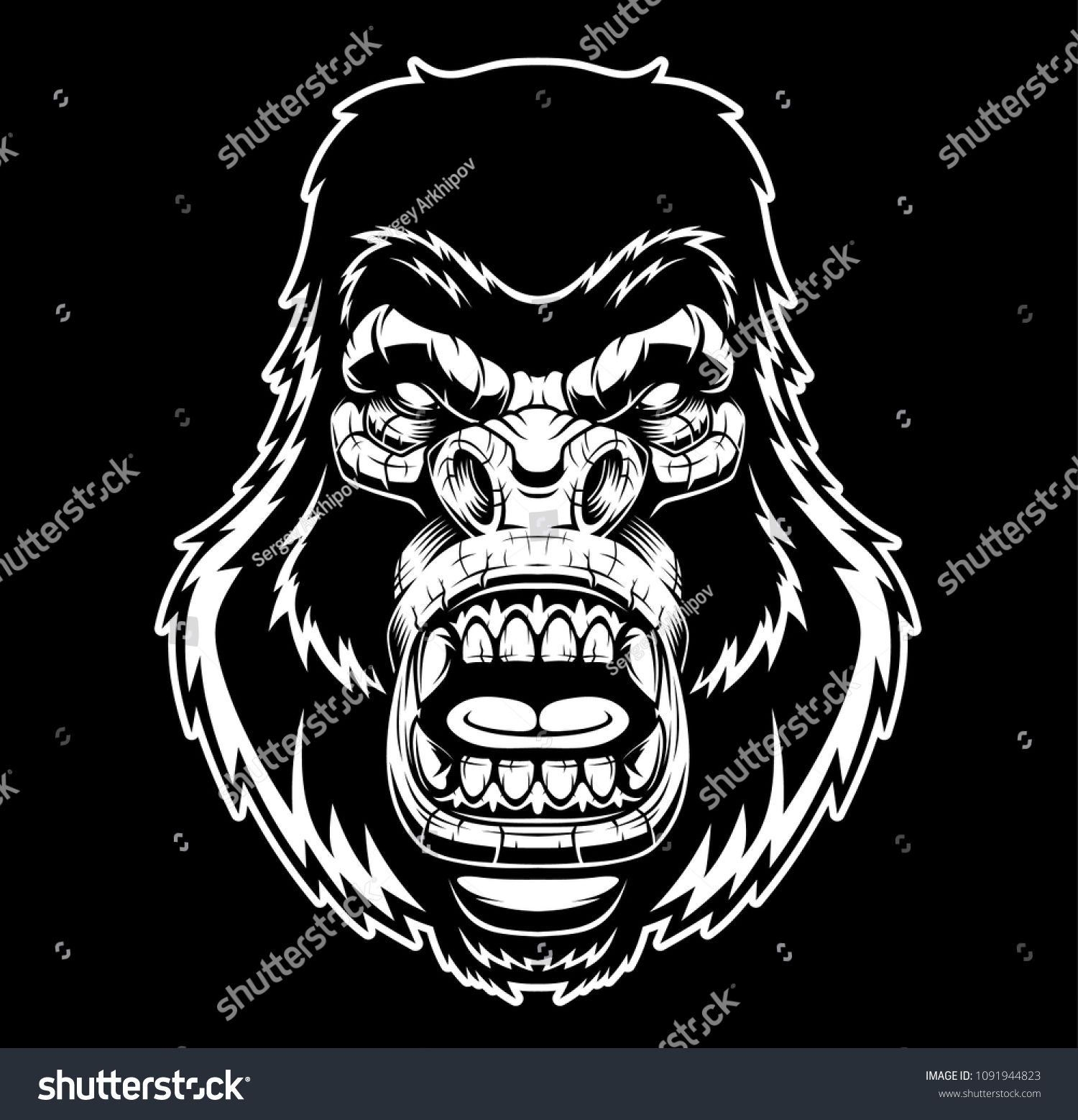 1500x1558 Angry Gorilla Head. Vector Illustration. Shutterstock
