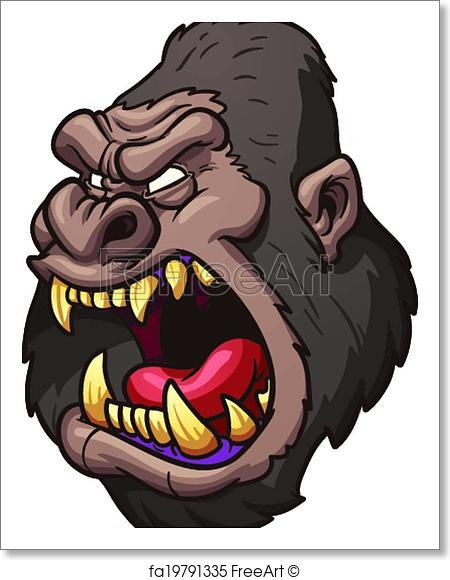450x580 Free Art Print Of Cartoon Gorilla. Angry Gorilla Head. Vector Clip