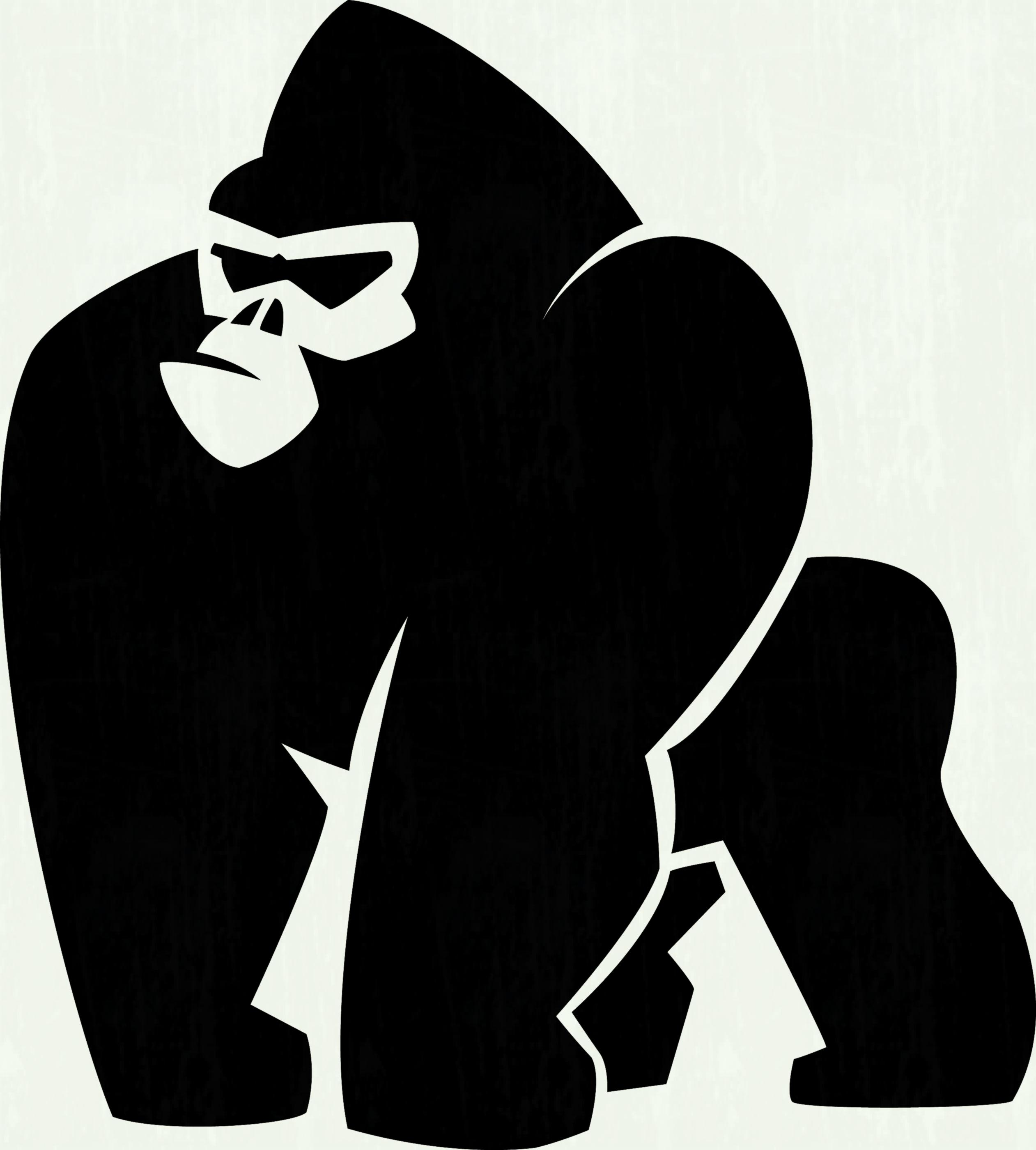2523x2800 Gorilla Head Vector Graphic Illustration Black And White Royalty