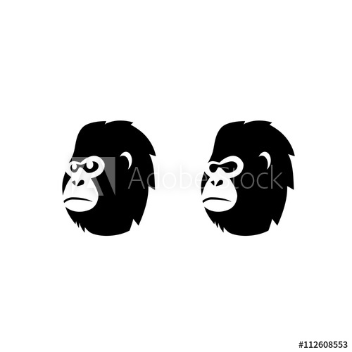 500x500 Gorilla Monkey Head Vector Logo
