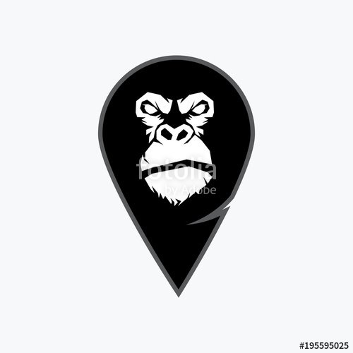 500x500 Gorilla Head Vector, Monkey Head Vector, Ape Face Logo Stock