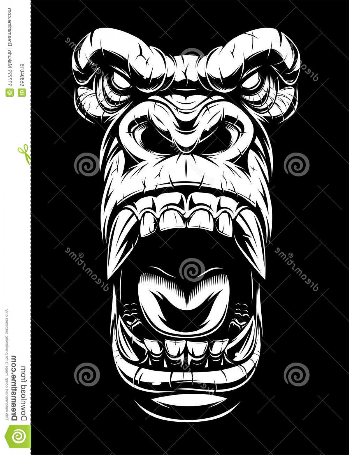 1198x1560 Stock Illustration Ferocious Gorilla Head Vector Illustration
