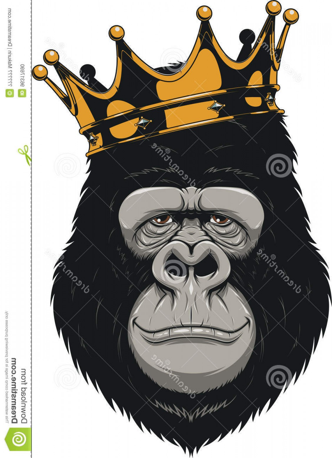 1129x1560 Stock Illustration Funny Gorilla Head Vector Illustration Crown