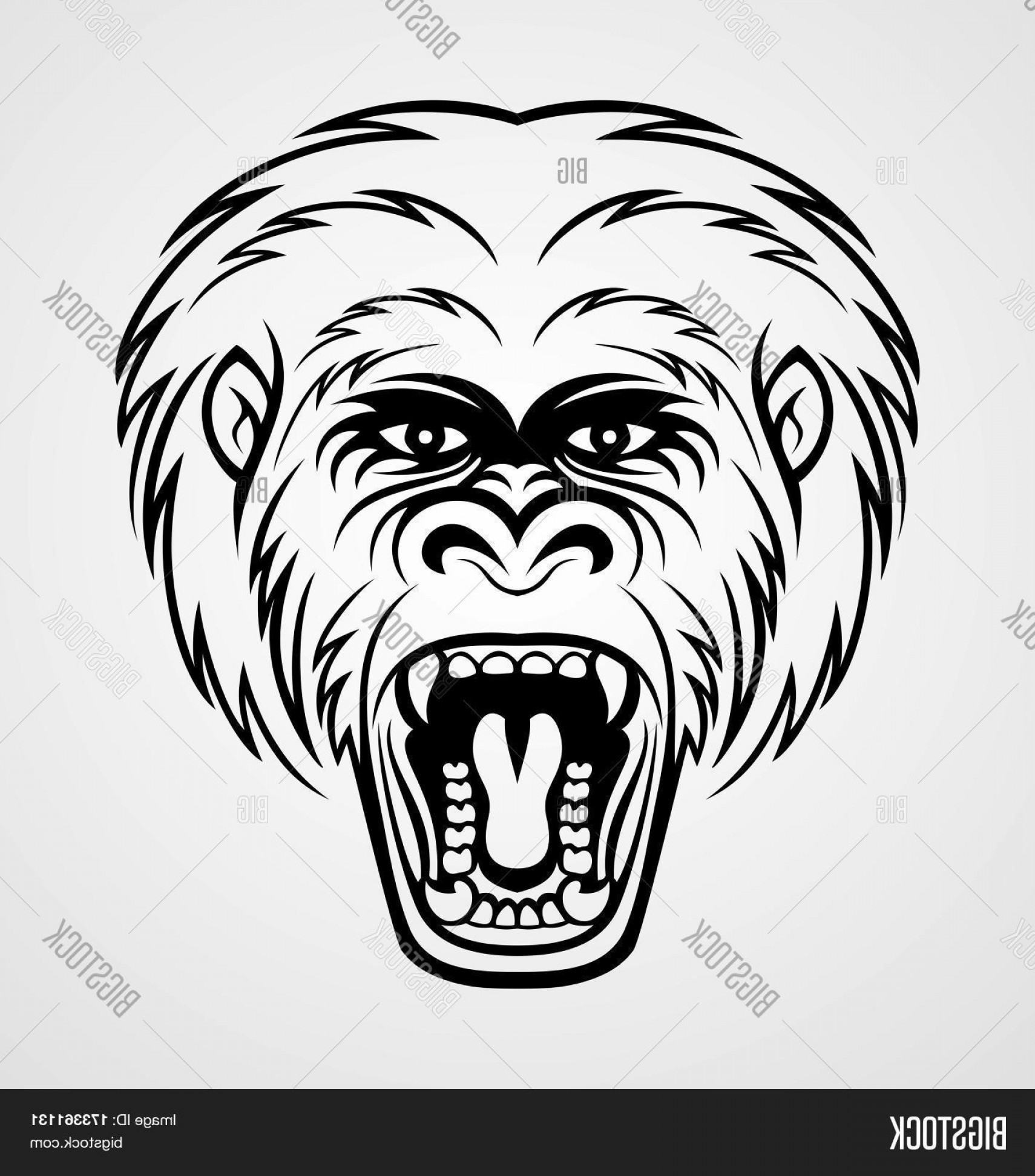 1710x1944 Stock Vector Angry Gorilla Head Tattoo Design Vector Illustration
