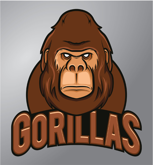 500x540 Gorilla Logo Design Vector Material 02 Free Download