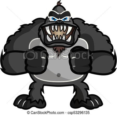 450x440 This Illustration Representz An Angry Gorilla, Or Chimpanzee.