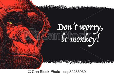 450x292 Vector Illustration Urban Gorilla Vector Poster. . Vector