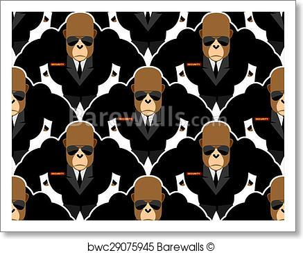 437x364 Art Print Of Security Guard Monkey Seamless Pattern. Bodyguards
