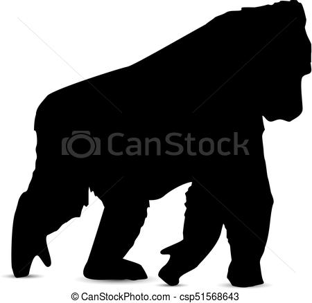 450x438 Silhouette Of Gorilla. Silhouette Of Walking Gorilla.