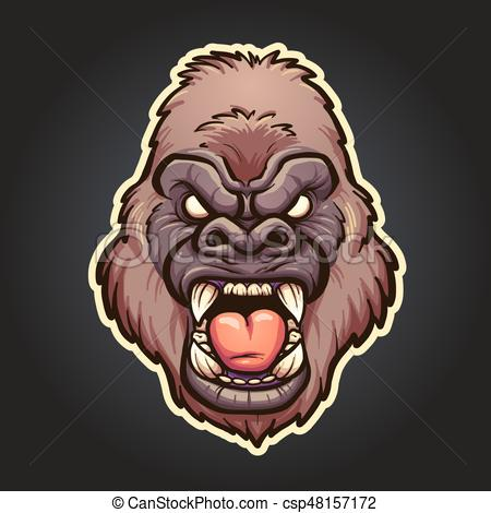 450x470 Angry Gorilla Mascot. Vector Clip Art Illustration With Simple