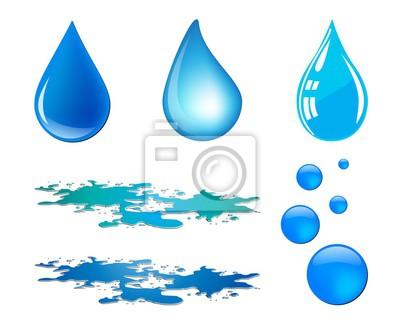 400x334 Gota De Agua Azul Del Vector Y Conjunto Charco Aislado En Fondo