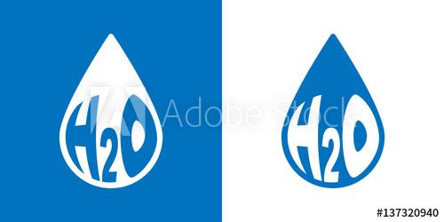 500x250 Icono Plano Gota H2o Azul Y Blanco