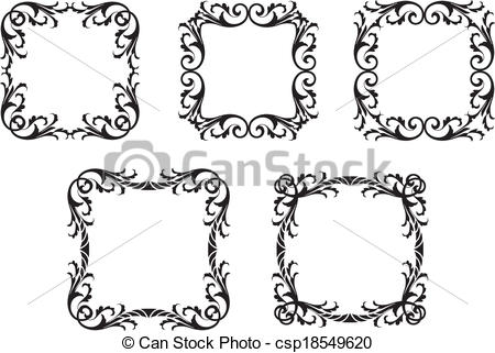 450x321 Gothic Leafy Frames. A Set Of Gothic Decorative Leafy Borders.