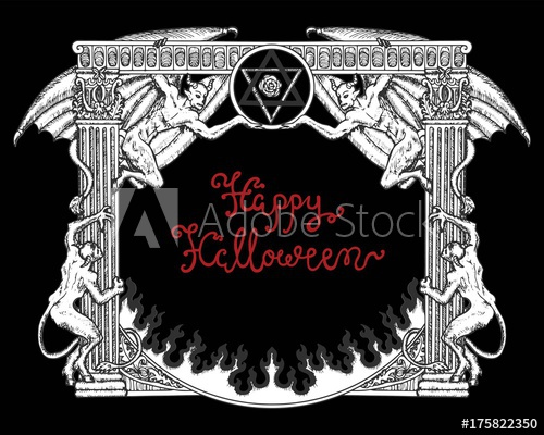 500x400 Halloween Gothic Frame With Demons On Black Background.