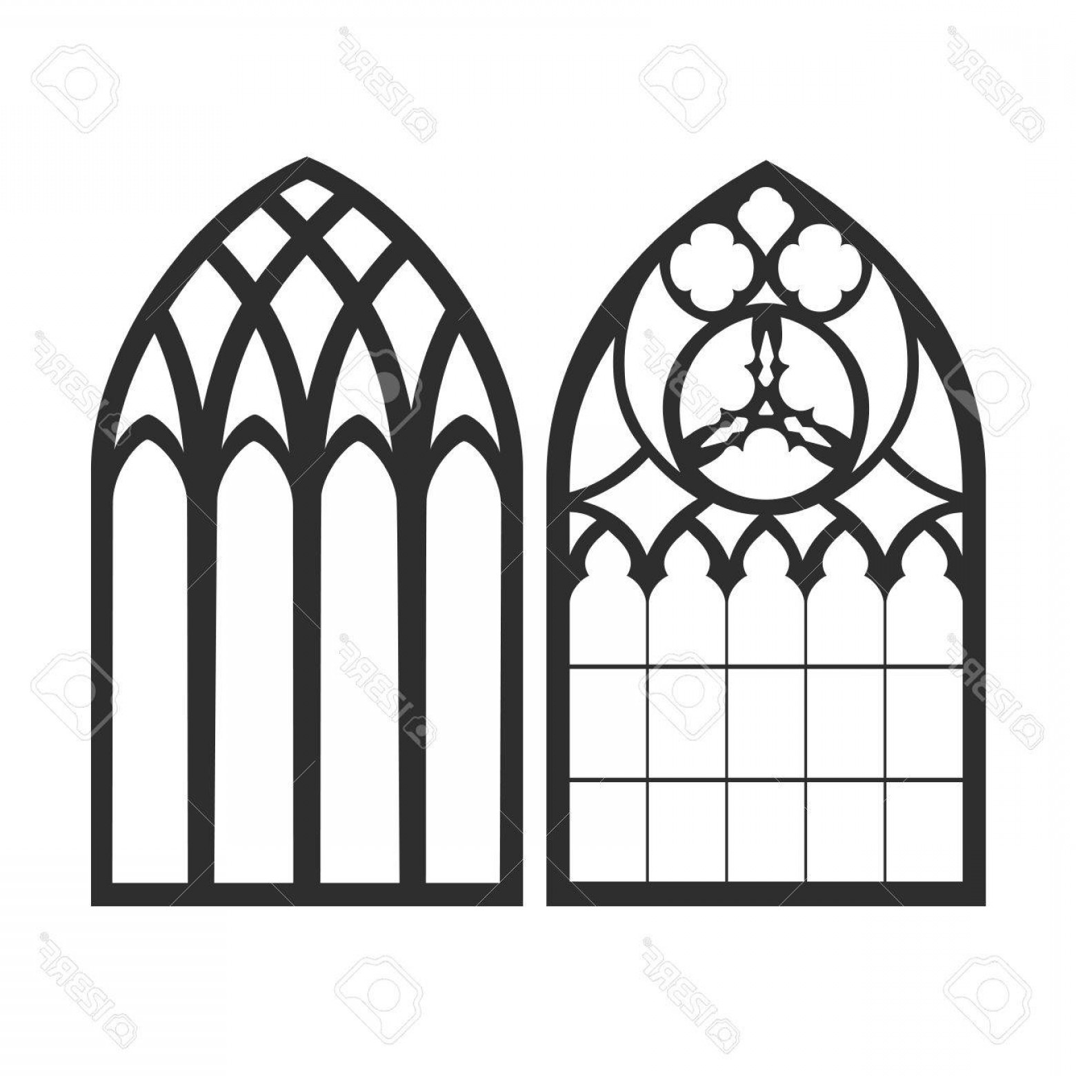 1560x1560 Photostock Vector Gothic Windows Vintage Frames Church Stained