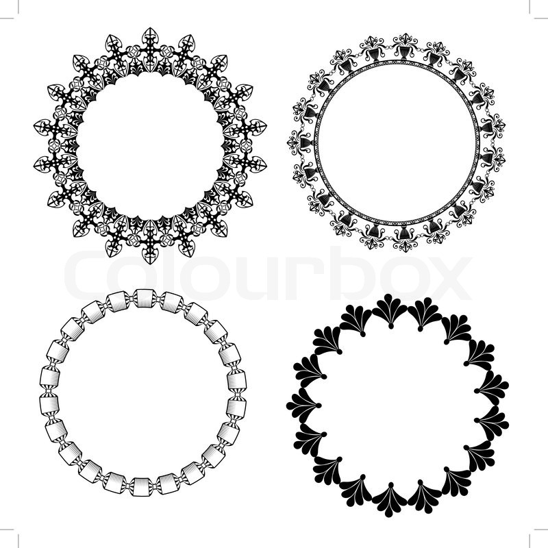800x800 A Set Of Round Frames With Ornament Stock Vector Colourbox