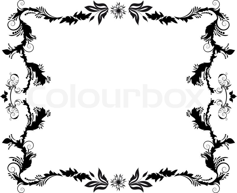 800x651 Abstract Floral Vector Frame Background In Victorian Style Stock