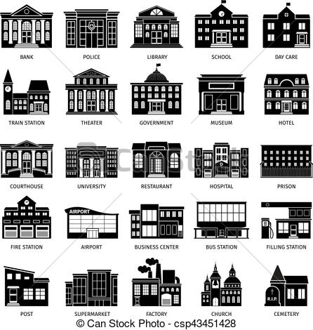 446x470 Government Building Black Icons. City Hospital And Restaurant