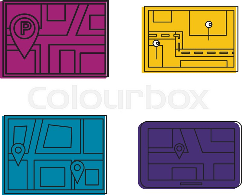 800x645 Gps Map Icon Set. Color Outline Set Of Gps Map Vector Icons For
