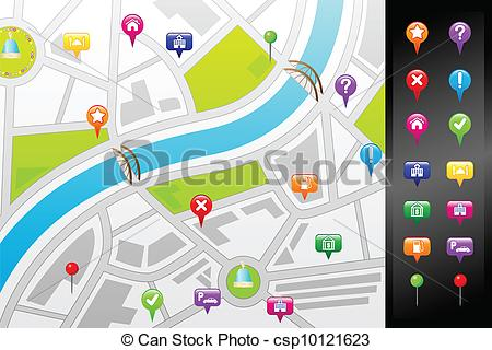 450x320 A Vector Illustration Of A Gps Street Map With Usable Icons.