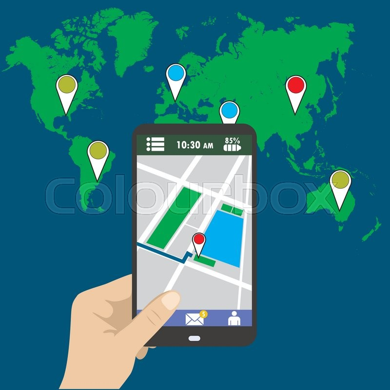 800x800 Hand Holding Smart Phone, Gps Map On Mobile, Flat Design. Stock