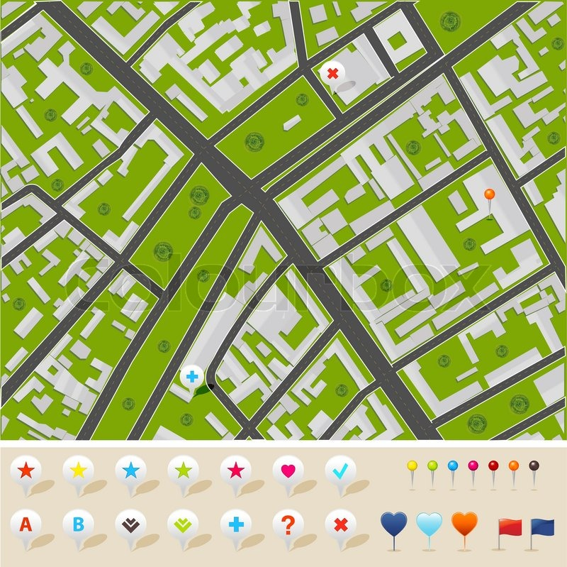 800x799 City Map With Gps Icons, Vector Illustration Stock Vector