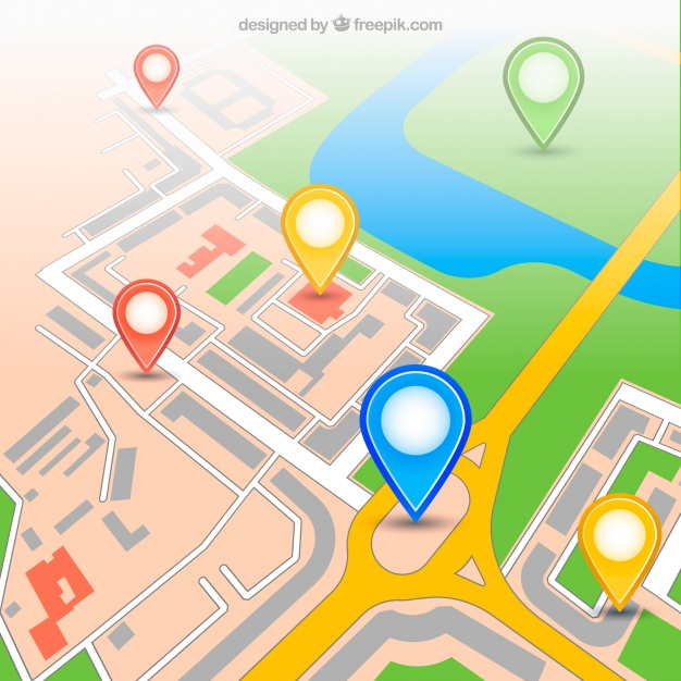 626x626 Urban Gps Map With Pins Vector Free Download